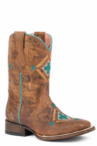Roper Native Girls Toddlers Tan Leather Mai Square Toe Cowboy Boots