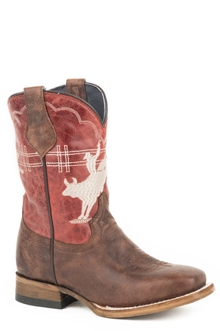Roper Kids Boys Red/Brown Leather Bull Rider Cowboy Boots