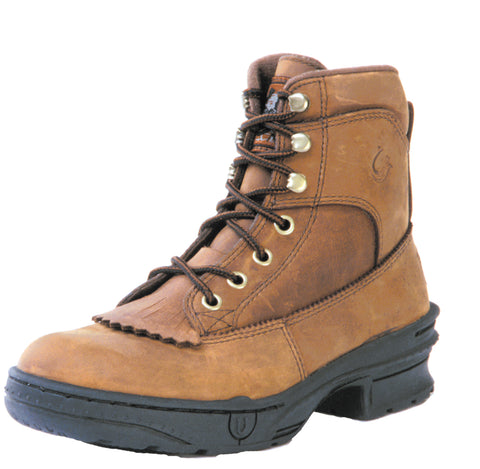 Roper Mens Crossrider Horseshoe Brown Oiled Leather Riding Kiltie Boots
