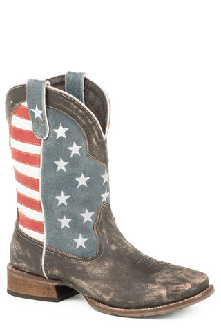 Roper 12In Mens Brown Leather American Flag Cowboy Boots