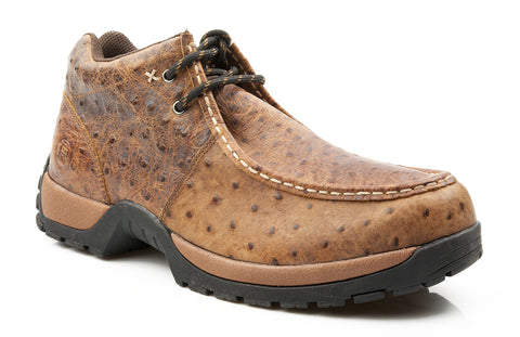 Roper Mens Comfort Lace-Up Brown Faux Ostrich Leather 2 Eyelet Ankle Boots