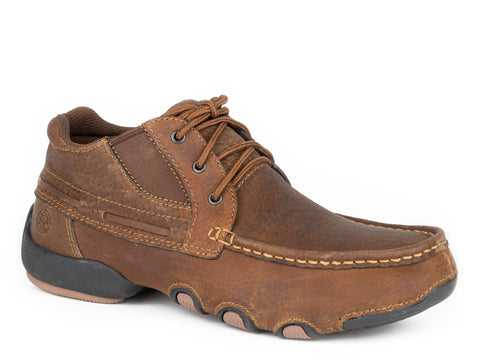 Roper High Country Oxfords Mens Brown Leather 3 Eyelet Shoes