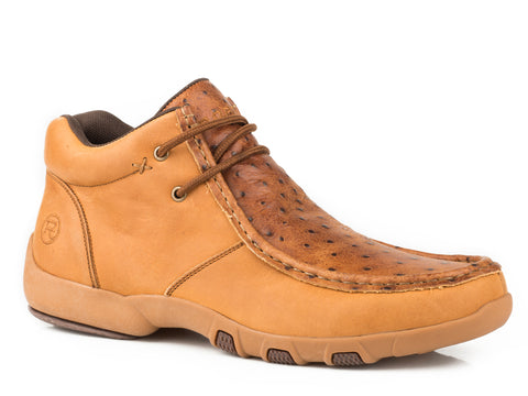 Roper Ostrich Print Mens Tan Leather Brody Chukka Boots