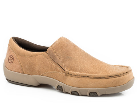 Roper Oiled Mens Tan Leather Owen Slip-On Shoes