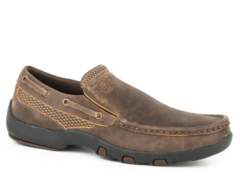 Roper Distressed Mens Dark Brown Leather Docks Slip-On Shoes
