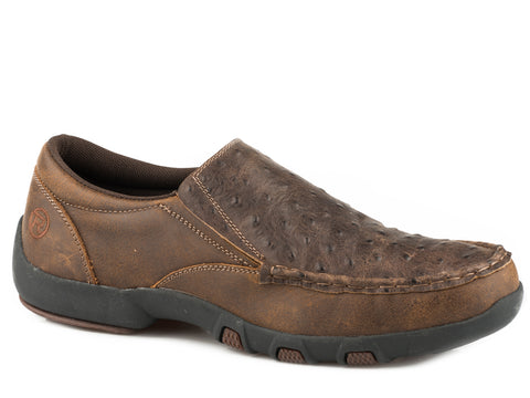 Roper Owen Mens Brown Leather Ostrich Print Slip-On Shoes
