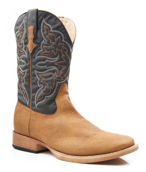 Roper Mens Square Toe Tan Faux Leather Western Cowboy