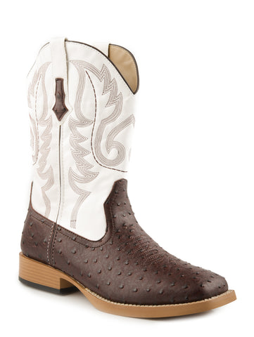 Roper Mens Square Toe Brown Faux Ostrich Leather Western Cowboy Boots