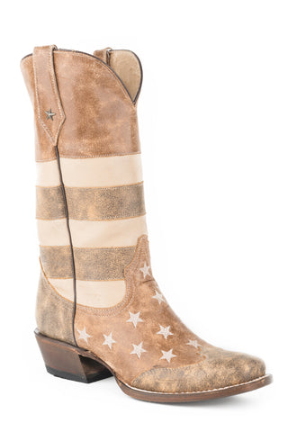 Roper Americana Flag Mens Brown Leather Cowboy Boots