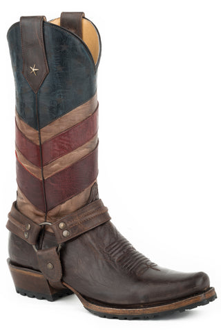 Roper Harness Mens Brown/Red Leather Old Glory Cowboy Boots