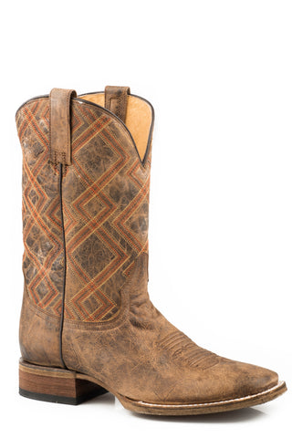Roper Nash Mens Brown Leather Geometric Cowboy Boots