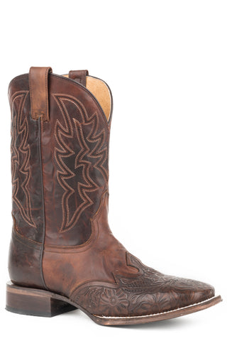Roper Mens Tan Leather Jagger Tooled Cowboy Boots