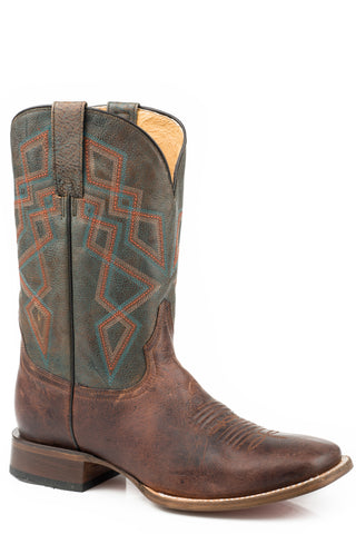 Roper Mens Oily Brown Leather Triumph Cowboy Boots