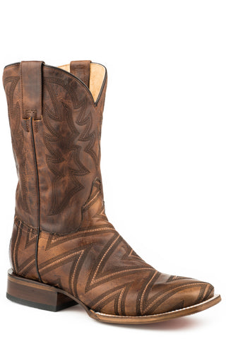 Roper Mens Oily Tan Leather Arlo Cowboy Boots