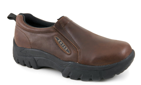 Roper Womens Performance Brown Oiled Leather Sport Comfort Slip On Shoes