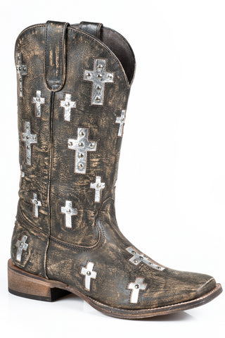 Roper Cross Ladies Brown Leather 12in Crystal Boots