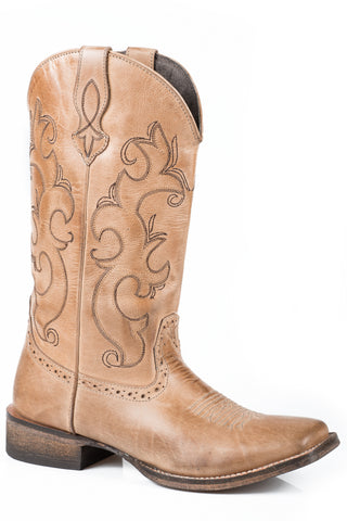 Roper Lindsey Ladies Tan Leather Western Boots