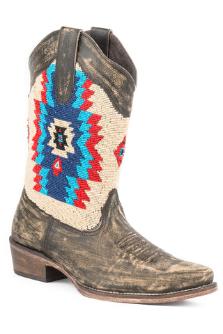Roper Boots Ladies Brown Leather Snip Toe Azteca Beaded Fashion