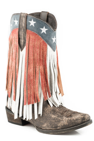 Roper Womens Brown Leather Beauty Fringe Cowboy Boots