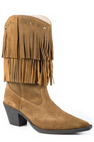 Roper Short Stuff Ladies Tan Suede Studded Fringe Fashion Boots