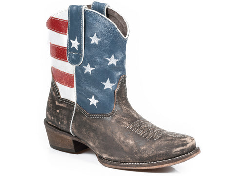 Roper Boots Ladies Brown Leather J Toe American Flag Beauty Cowboy