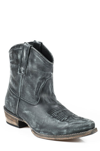 Roper Boots Ladies Black Leather Snip Toe Dusty Ankle Fashion