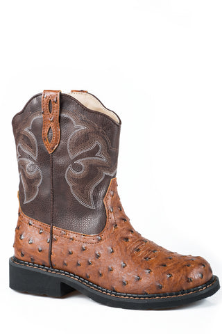 Roper Chunk Rider Ladies Tan Faux Leather Ostrich Western Boots