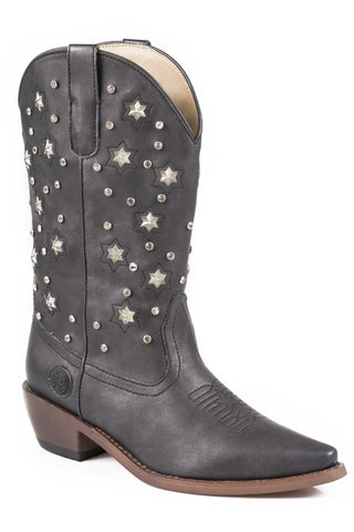 Roper Boots Ladies Black Faux Leather 11in Starlights Fashion