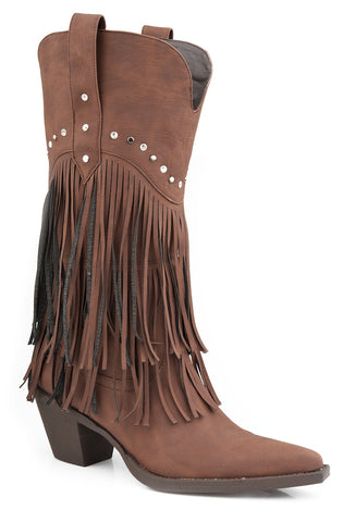 Roper Womens Brown Distressed Faux Leather 12in Fringe Stud Design Western Boots