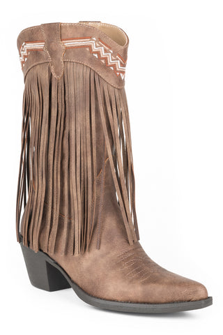 Roper Fringes Womens Brown Faux Leather Fashion Boots
