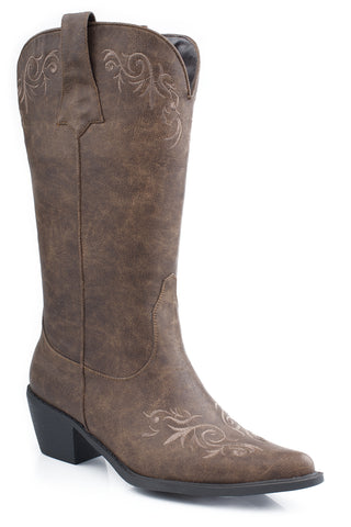 Roper Womens Tan Antiqued Faux Leather 12in Scroll Embroidery Western Boots