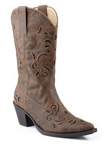 Roper Womens Brown Vintage Faux Leather 13in Glitter Underlay Western Boots