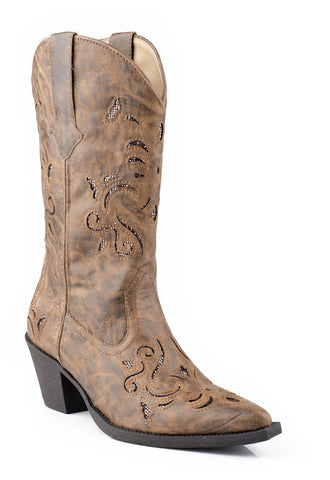 Roper Womens Tan Vintage Faux Leather 13in Self Glitter Western Boots