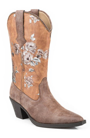 Roper Painter Ladies Brown Faux Leather Floral Print Western Boots