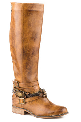 Roper Burnished 17In Womens Tan Faux Leather Penny Fashion Boots