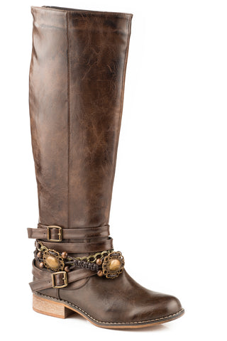 Roper Burnished 17In Womens Brown Faux Leather Penny Fashion Boots