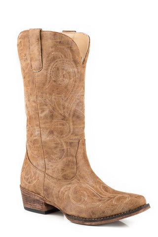 Roper Riley Womens Tan Faux Leather Cowboy Boots