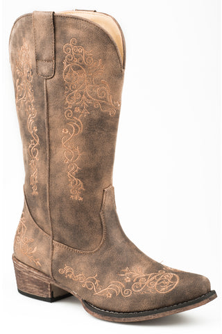 Roper Womens Vintage Brown Faux Leather Riley Scroll Cowboy Boots