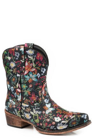 Roper Floral Womens Black Faux Leather Ingrid Cowboy Boots