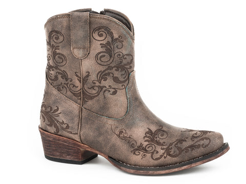 Roper Womens Dark Brown Faux Leather Short Stuff Cowboy Boots