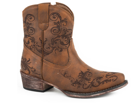 Roper Womens Cognac Faux Leather Short Stuff Cowboy Boots