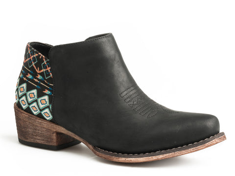 Roper Womens Black Faux Leather Sedona Ankle Boots