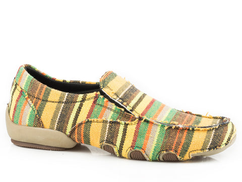Roper Liza Driving Moc Womens Multi Cotton Stripe SlipOn Shoes
