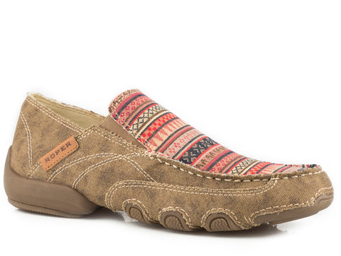 Roper SlipOn Womens Tan Canvas Waxy Southwest Distressed Daisy Shoes