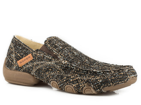 Roper SlipOn Womens Brown Fabric Rich Tweed Daisy Shoes