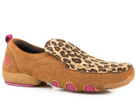 Roper SlipOn Womens Tan Suede Leopard Print Shoes