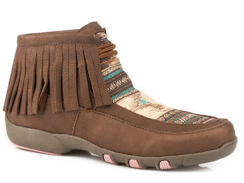 Roper Santa Fe Womens Brown Leather Aztec Chukka Boots