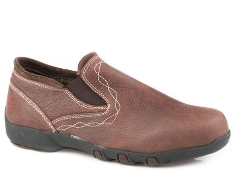 Roper Womens Brown Leather Petty Tumbled Slip-On Shoes