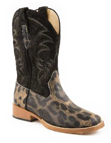 Roper Womens Sq Toe Black Faux Leather Leopard Canvas Western Cowboy Boots