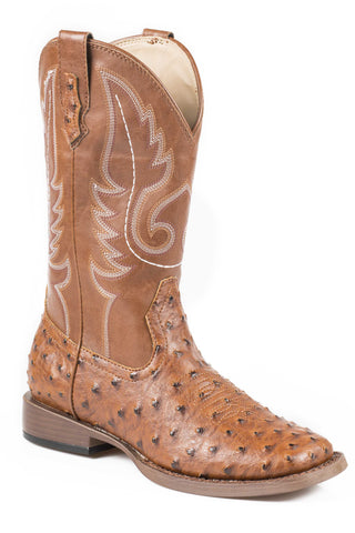 Roper Bumps Ladies Tan Faux Leather Ostrich Print Western Boots